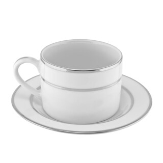 10 Strawberry Street Silver Double Line Can Cup/ Saucer (Set of 6)