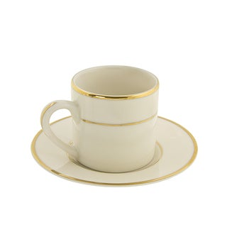 Cream Double Gold Demi Can Cup/ Saucer (Set of 6)