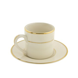 10 Strawberry Street Cream Double Gold Demi Can Cup/ Saucer (Set of 6)