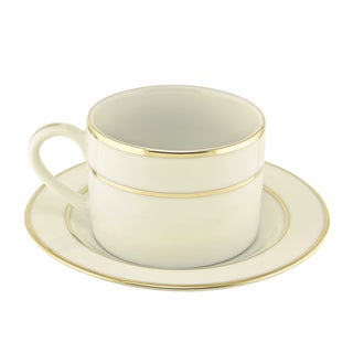 10 Strawberry Street Cream Double Gold Can Cup/ Saucer (Set of 6)