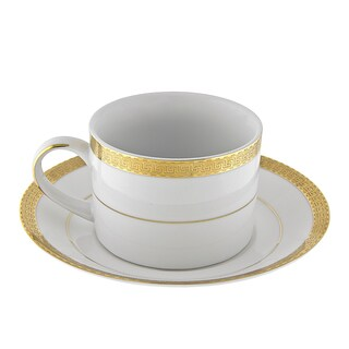 10 Strawberry Street Luxor Gold Can Cup/ Saucer (Set of 6)