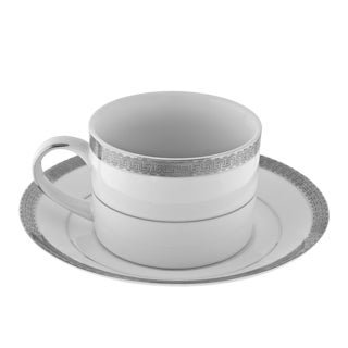 10 Strawberry Street Luxor Platinum Can Cup/ Saucer (Set of 6)