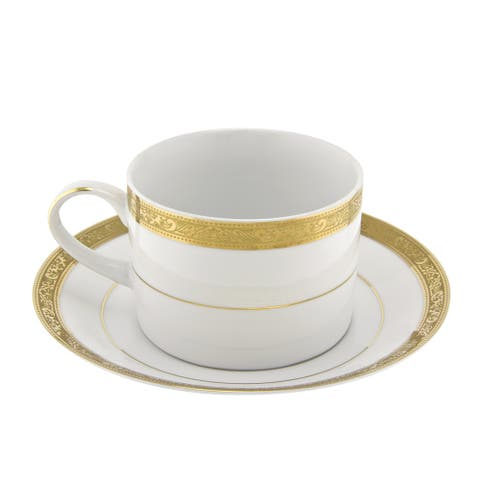 10 Strawberry Street Paradise Gold Can Cup/ Saucer (Set of 6)
