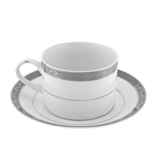 10 Strawberry Street Paradise Platinum Can Cup/ Saucer (Set of 6)