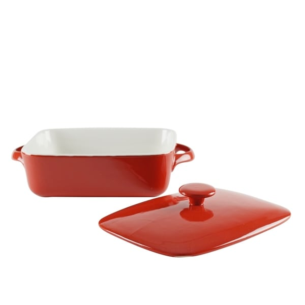 Sienna Red 9-inch Rectangular Bakeware With Lid