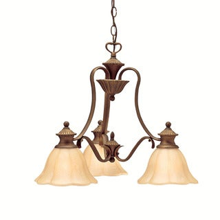 Traditional 3-light Parisian Bronze Chandelier