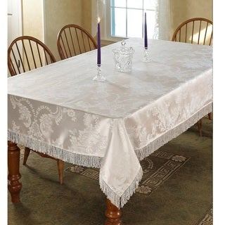 Violet Linen Majestic Damask Design Tablecloth