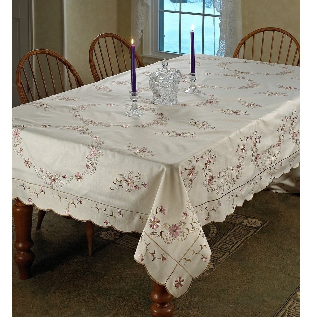 Violet Linen Renaissance Embroidered Tablecloth (Ivory 52...