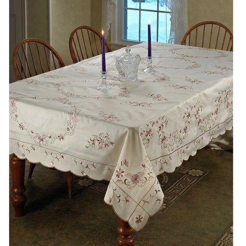 Violet Linen Renaissance Embroidered Tablecloth