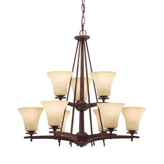 Transitional 9-light Canyon Slate Chandelier