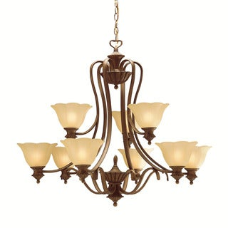 Traditional 9-light Parisian Bronze Chandelier