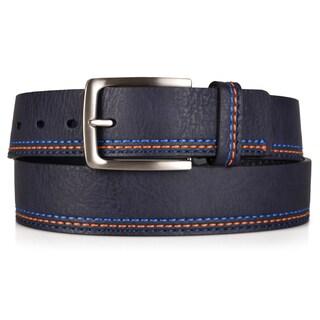 Vance Co. Men's Genuine Leather Topstitched Belt