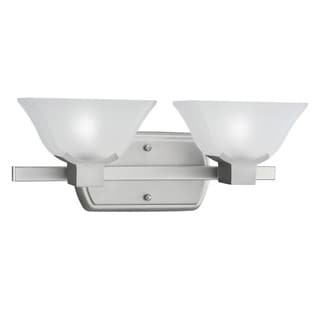 Transitional 2-light Brushed Nickel Halogen Bath/Vanity Light