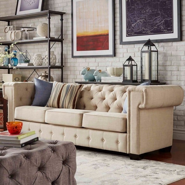 Knightsbridge Linen Tufted Squared Arm Chesterfield Sofa by SIGNAL HILLS