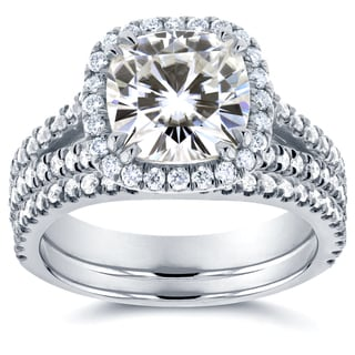 Annello 14k White Gold Moissanite and 3/4ct TDW Diamond Halo 2-Piece Bridal Rings Set (G-H, I1-I2)