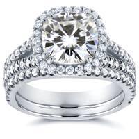 Annello by Kobelli 14k White Gold Moissanite (HI) and 3/4ct TDW Diamond Halo 2-Piece Bridal Rings Set