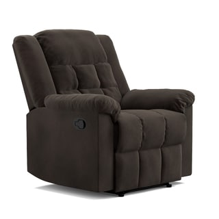 ProLounger Chocolate Brown Pebbles Suede Wall Hugger Glider Recliner Flat Wingback Chair