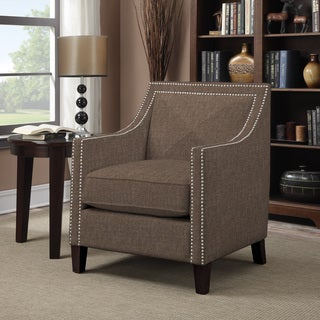 Handy Living Rome Chocolate Brown Linen Arm Chair