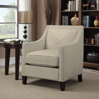 Portfolio Rome Barley Tan Linen Arm Chair
