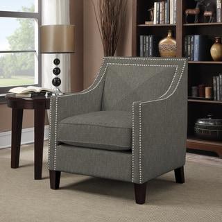 Portfolio Rome Basil Grey Linen Arm Chair