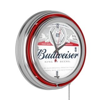 Budweiser Chrome Double Rung Neon Clock - Label Design