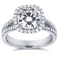 Annello by Kobelli 14k White Gold 2 1/2ct TGW Moissanite and Diamond Cushion Halo Split Shank Engagement Ring