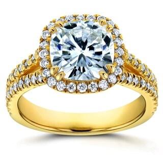 Annello By Kobelli 14k Yellow Gold 2 1 2ct TGW Moissanite And Diamond Cushion Halo Split Shank Engagement Ring