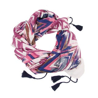 Handmade Pink Flamestitch Scarf (India)