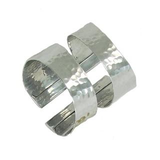 Hammered Silvertone Cuff Bracelet (India)