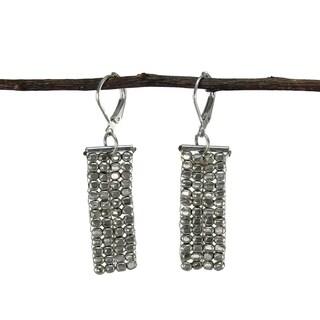 Handmade Rectangle Cubist Silvertone Earrings (India)
