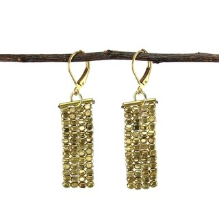 Handmade Rectangle Cubist Goldtone Earrings (India)