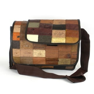 Handmade Large Upcycled Leather Label Messenger Bag (India)