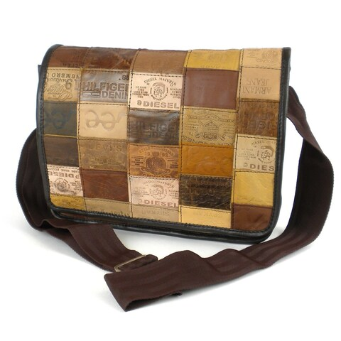 Handmade Small Upcycled Leather Label Messenger Bag (India)