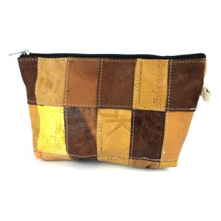 Handmade Upcycled Leather Label Pouch (India)