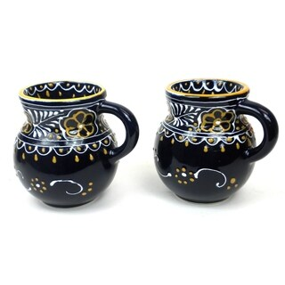 Set of 2 Handmade Beaker Cups in Blue - Encantada Pottery (Mexico)