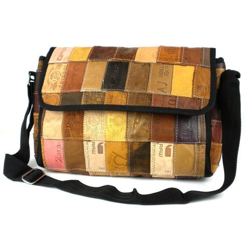 Handmade Upcycled Leather Label 'Butler' Bag (India)