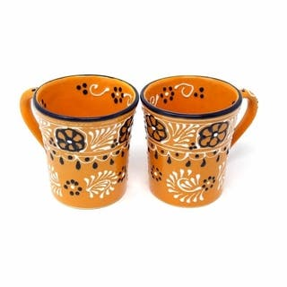 Set of 2 Handmade Flared Cups in Mango - Encantada Pottery (Mexico)|https://ak1.ostkcdn.com/images/products/10680490/P17743854.jpg?impolicy=medium