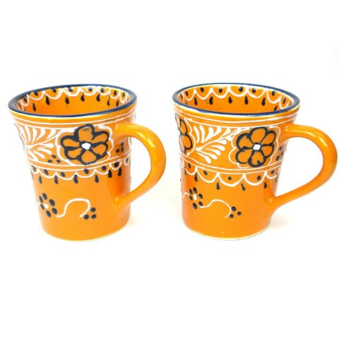 Handmade Mango Encantada Pottery Flared Cups, Set of 2 (Mexico)
