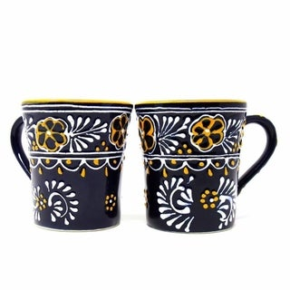 Link to Handmade Blue Encantada Pottery Flared Cups, Set of 2 (Mexico) Similar Items in Dinnerware