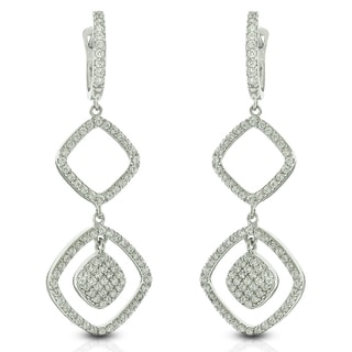 Sterling Silver Square Cubic Zirconia Micro Pave Chandelier Earrings