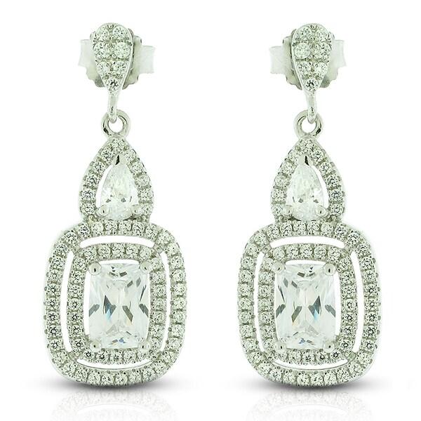 Sterling Silver Rectangle Cubic Zirconia Dangle Earrings
