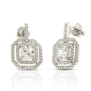 Sterling Silver Princess Cut Cubic Zirconia Micro Pave Earrings