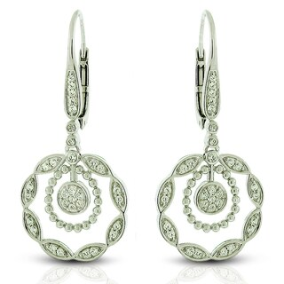 Sterling Silver Cubic Zirconia Flower Micro-Pave Earrings