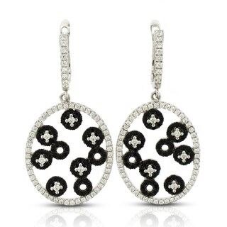 Sterling Silver Cubic Zerconia Oval Black and White Micro Pave Drop Dangle Earrings