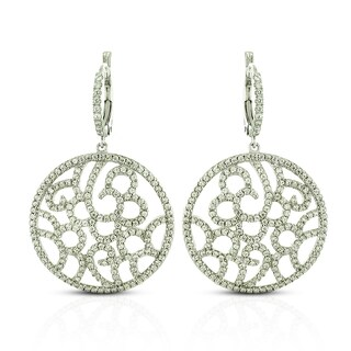 Sterling Silver Cubic Zirconia Filigree Micro-Pave Earrings