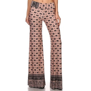 MOA Collection Women's Palazzo Pants with Elephant Print (Option: Khaki)
