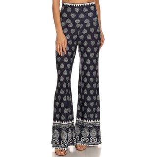 MOA Collection Women's Palazzo Pants with Damask Print