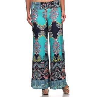 MOA Collection Women's Palazzo Pants with Paisley Print