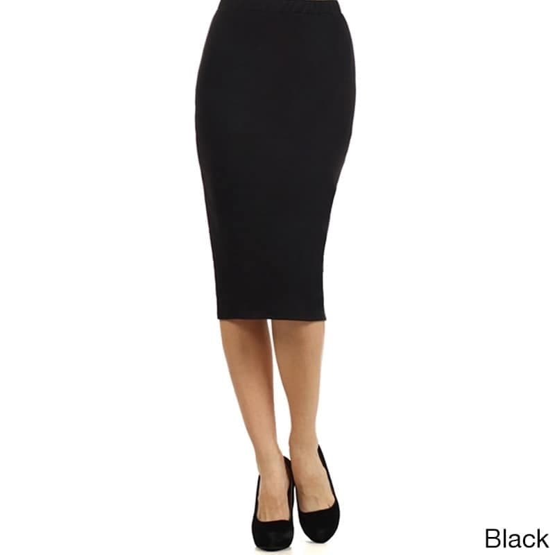 MOA Collection Womens Solid Color Pencil Skirt