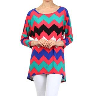 MOA Collection Women's Plus Size Chevron Striped Tunic